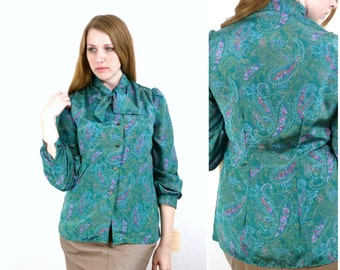 Vintage 80s Paisley Ascot Blouse Silky Green and Pink Floral S/M
