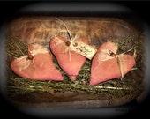 Folk Art Primitive Red Heart Ornies With Bells  Set Of 3