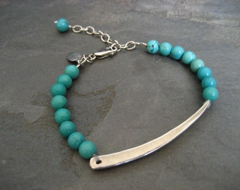 Assymetrical bar bracelet with turquoise - solid heavy sterling silver