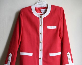 Red 80ies sophisticated Karen Ellis Jacket with White accents, Power jacket, Dallas business lady Jacket