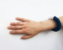 blue white felt bracelet - bold asymmetrical geometric, contemporary jewelry