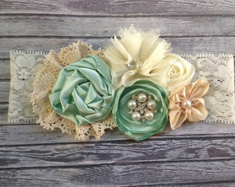 Vintage inspired Ivory mint satin lace headband,cream flower headband-any size, baby,m2m persnickety-photo prop-flower girl- bridal