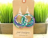 BOLD Stacked Circle Earrings. Recycled Soda Can Art. DOUBLE-sided.