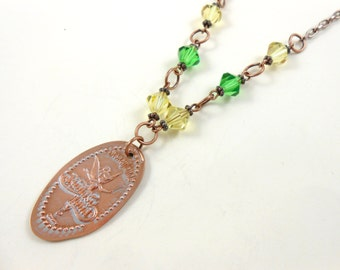 Disney - TINKERBELL in Fantasyland - Swarovski Bead Necklace - Pressed Penny  -  Limited Edition