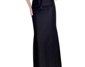 Floor length black maxi skirt, high quality tailor made, High fashion,tuxedo skirt, plus size,