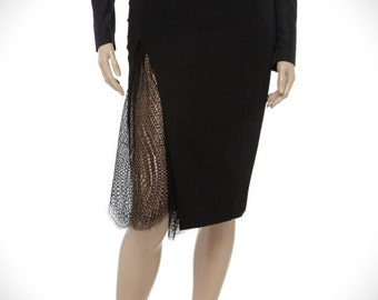 High waist pencil skirt  with lace fish tail in front choose your size or your measurments , plus size, Made to order , high fashion