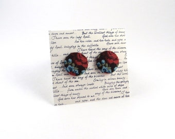 Flower Fabric Button Stud Earrings Red / Blue / Brown / Floral pattern