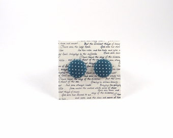 Blue and White Polka Dot Fabric Button Stud Earrings