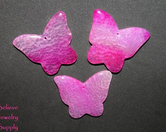 Shop Closing Clearance Sale Set Of 3 AGATE Butterfly Pendants Big Butterfly Gemstones Butterfly Beads Pink Butterflies Jewelry Supplies