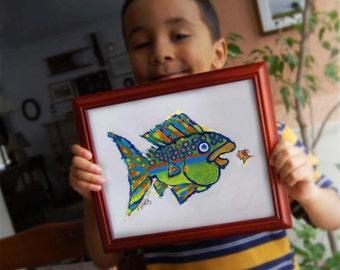 Whimsical Funky Fish Art Print - Colorful Creative Affordable Kids Room, Lake House Wall Decor