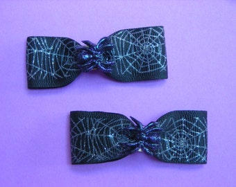 Gothic Spider and Web Hair Bows