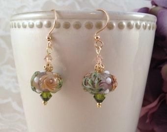 Floral Earrings, Flower Earrings, Drop Earrings, Glass Earrings, Glass Bead Earrings, Beadwork Earrings, Lampwork Earrings