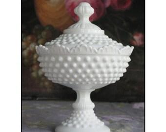 Fenton Milk Glass Covered Pedestal/ Fenton Candy Dish / Wedding Centerpiece/ Wedding Candy Bar