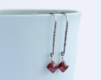 POMEGRANATE - garnet sterling silver 14K gold earrings