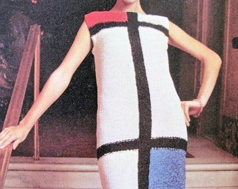 INSTANT DOWNLOAD PDF Vintage Knitting Pattern Mod Mondrian Color Block Mini Dress 1960s Easy Shift Dress Knitting Crochet Pattern