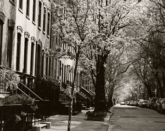 New York City Photography - Black and White West Village Photograph - Urban Decor - Streets - Spring Cityscape - NYC Photo Wall Art