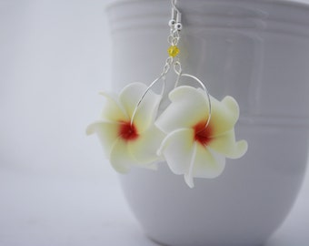 White Flower Earrings Plumeria, Frangipani Floral Earrings, Hawaii Jewelry Hawaiian Jewelry Tropical Flower Flower Jewelry Floral Jewelry 01