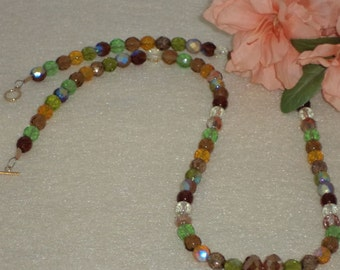 Czech Glass Beaded Necklace In Browns and Greens    FREE SHIPPING