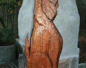"Hound dog howling 32"" chainsaw wood carving rustic wall mount hunting lodge dog sculpture cabin home decor woodworking canine pet art"