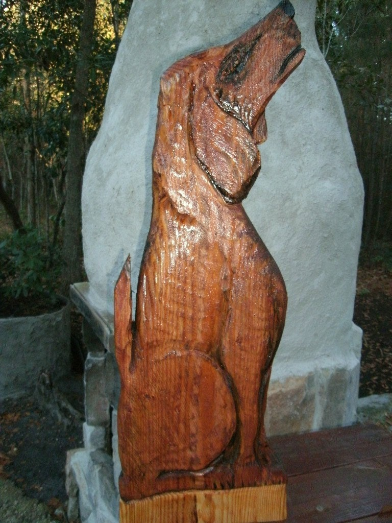 Hound dog howling chainsaw wood carving rustic by