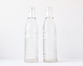 NEHI Soda Pop - Vintage Beverage Bottles - Clear Collectible DuraGlass - 1920s 1930s Advertisement - Rustic Nostalgic Man Cave Decor