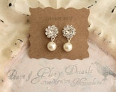 Pearl Rhinestone Earrings - Sterling Silver - Bridal Bridesmaids Crystal Earrings- Jewelry Accessory - Ready to Ship