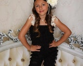 Vintage Chic... Long Black Lace Petti Romper with Vintage Ivory Lace Trim and Lace Headband