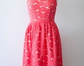ON SALE - Coral lace dress, Size 4 Bust 35""