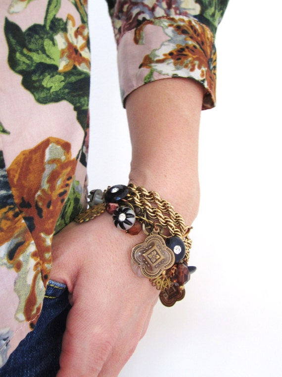 Charm bracelet, vintage charm bracelet, vintage button bracelet, statement bracelet, pearls, buttons, by nicobel