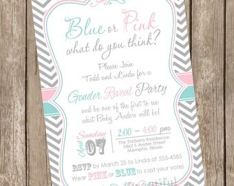 Chevron Gender Reveal Invitation Baby Reveal Invite printable invitation  Blue or Pink What Do You Think?