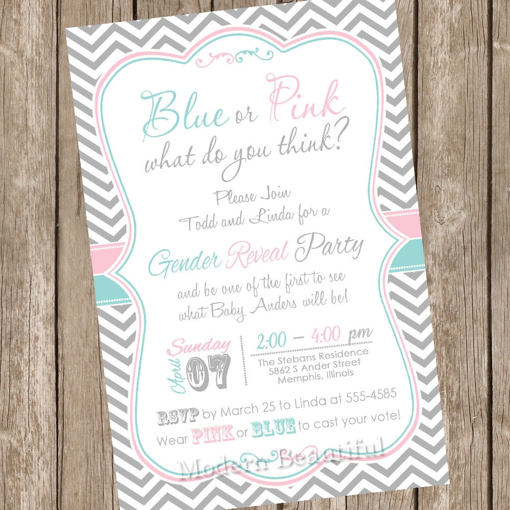 This is a picture of Crush Free Printable Gender Reveal Party Invitations