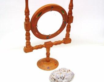 Vintage Wood Frame Mirror, Shaving Mirror on Stand, Swivel Vanity Mirror, Folk Art Mirror, Tilting Makeup Mirror