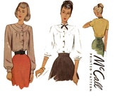 1940s Blouse Pattern McCall 7196 Bust 32 Tuck Fitted Yoked Button Front Day or Evening Blouses Womens Vintage Sewing Patterns