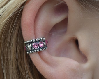 Hearts with Crystals Ear Cuff - SINGLE SIDE -Sterling Silver and Swarovski Crystals