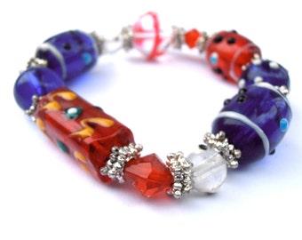 Handmade Blue Bracelet Handmade Red Bracelet Handmade Red White Blue Bracelet Handmade Red Crystal Bracelet Handmade Blue Crystal Bracelet