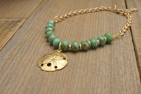 RUSTIC TURQUOISE BRACELET in Gold by Cheydrea