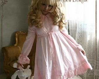 SALE 54.00 Sweet Dream Pajama Lolita Nightgown Dolly Empire Waist Button Cotton Dress Pink
