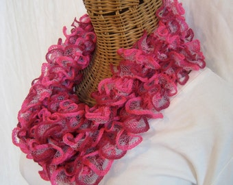 Valentine's Day Knitted ruffle scarf pink raspberry netting frilly womens scarf neck sash fashion accessory Feza Cali ruffle scarf
