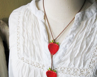 Strawberry Chain Red Necklace Summer Women's Fashion