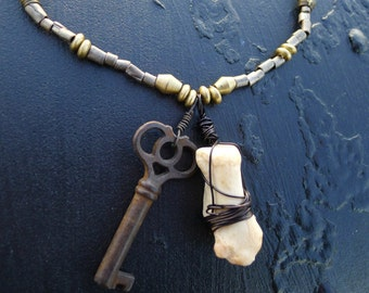 Vintage Skeleton Key Nickel Silver Brass Metal Cute Bone Beads Sexy Steampunk Gothic 26