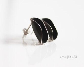 Black stud earrings - silver earrings stud earrings - modern silver jewelry design - small black earrings - small black studs