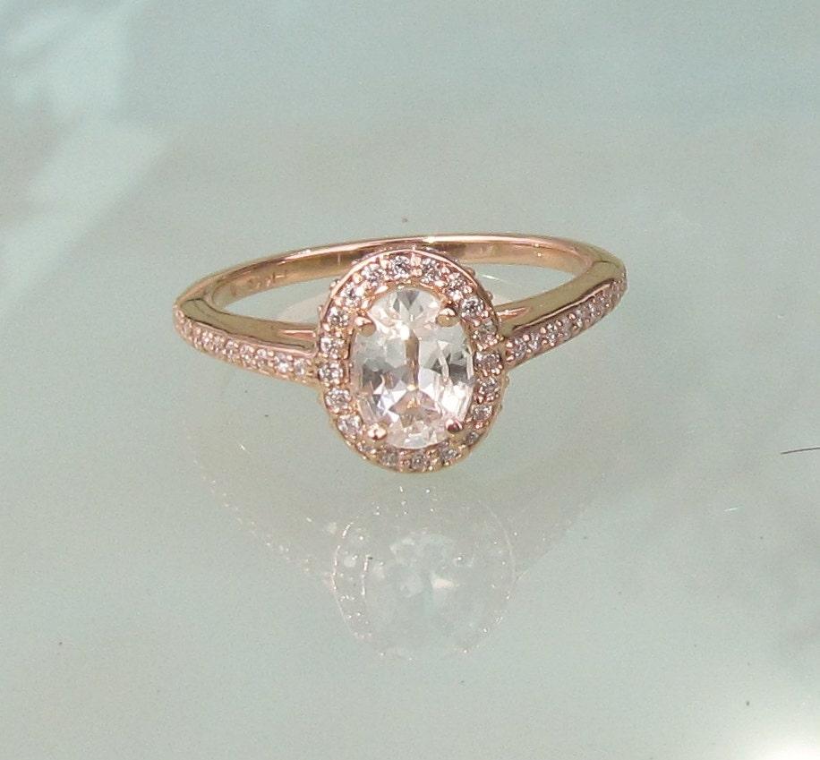 natural white sapphire14k rose gold diamond halo engagement. Black Bedroom Furniture Sets. Home Design Ideas