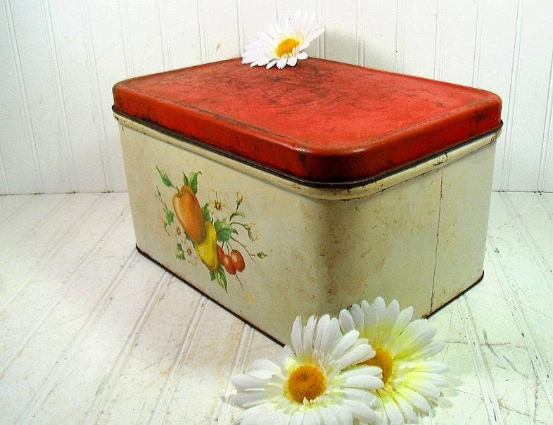 Rustic Decoware Metal Large Bread Box Vintage Chippy Paint