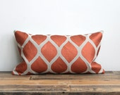 Aya lumbar pillow cover hand printed in metallic ink on greige organic hemp