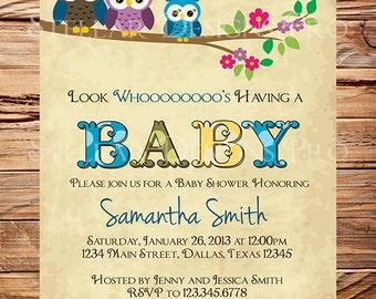Owl Family Baby Shower Invitation, Baby Shower Invite, Boy, Girl, Gender Neutral, Whimsical, Blue, Pink, Green Baby shower, 1461