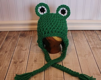 Baby Frog hat (many colors available, sizes nb, 1-3mos, 3-6mos, 6-12mos)