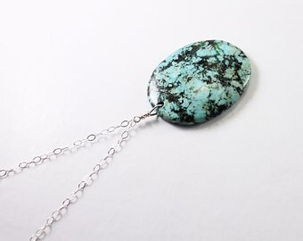 Mens necklace: turquoise jasper jewelry for men, sterling silver turquoise pendant necklace blue natural stone