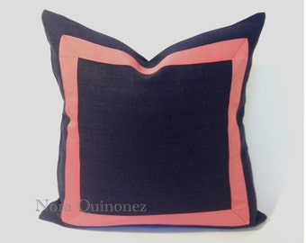 Navy Blue Cotton Canvas Pillow Cover with Coral Pink Grosgrain Ribbon- Invisible Zipper Closure- Cushion Cover 46x46 cm.