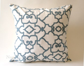 20x20 Lattice Design Decorative Throw Pillow in Teal and Black on White Medium Weight Cotton Print- Invisible Zipper Closure