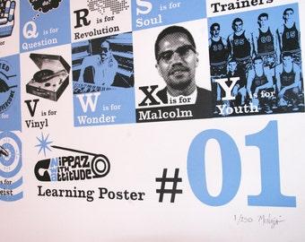 Cool A-Z Alphabet Poster Alternative A-Z Wall Art. HipHop Screenprint Poster. Powder Blue